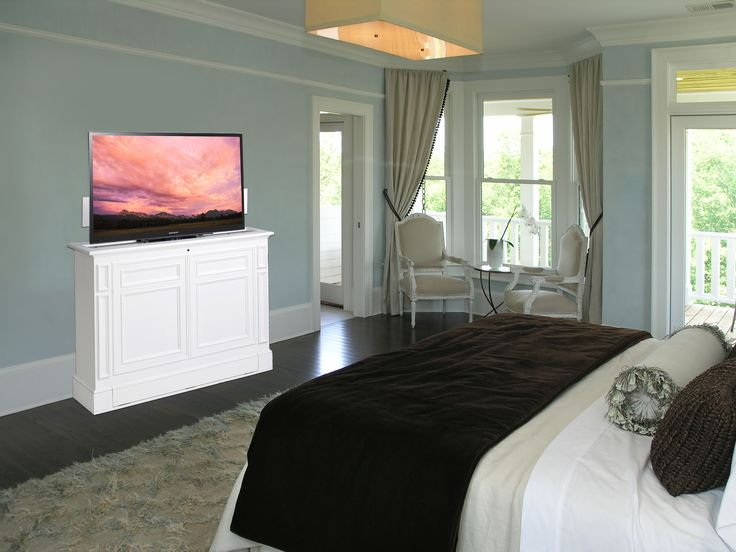 the chatham white 360 degree electric swivel tv lift cabinet is the ultimate in display and
