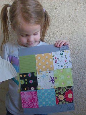 "Letter ""Q"" Craft - Quilt Making - Scrapbook paper, craft paper, and glue  *Motor Skills  *ABC's  *Alphabet"