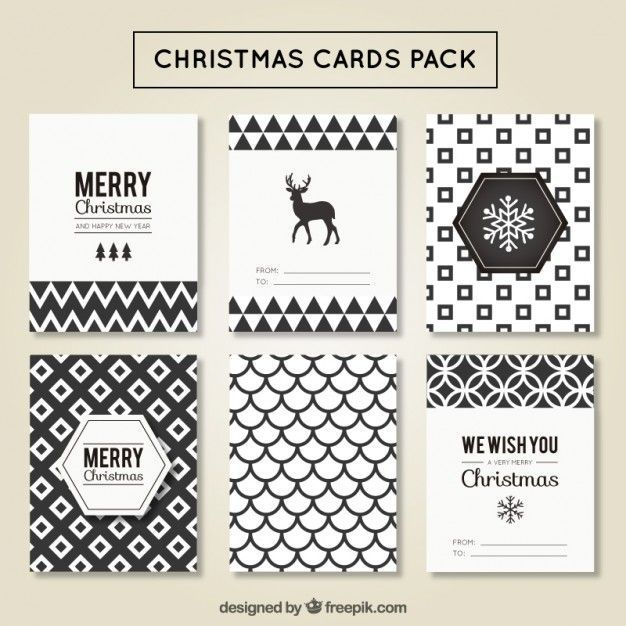 picture about Printable Christmas Cards Black and White known as Xmas playing cards geometric pack Totally free Vector. Least black