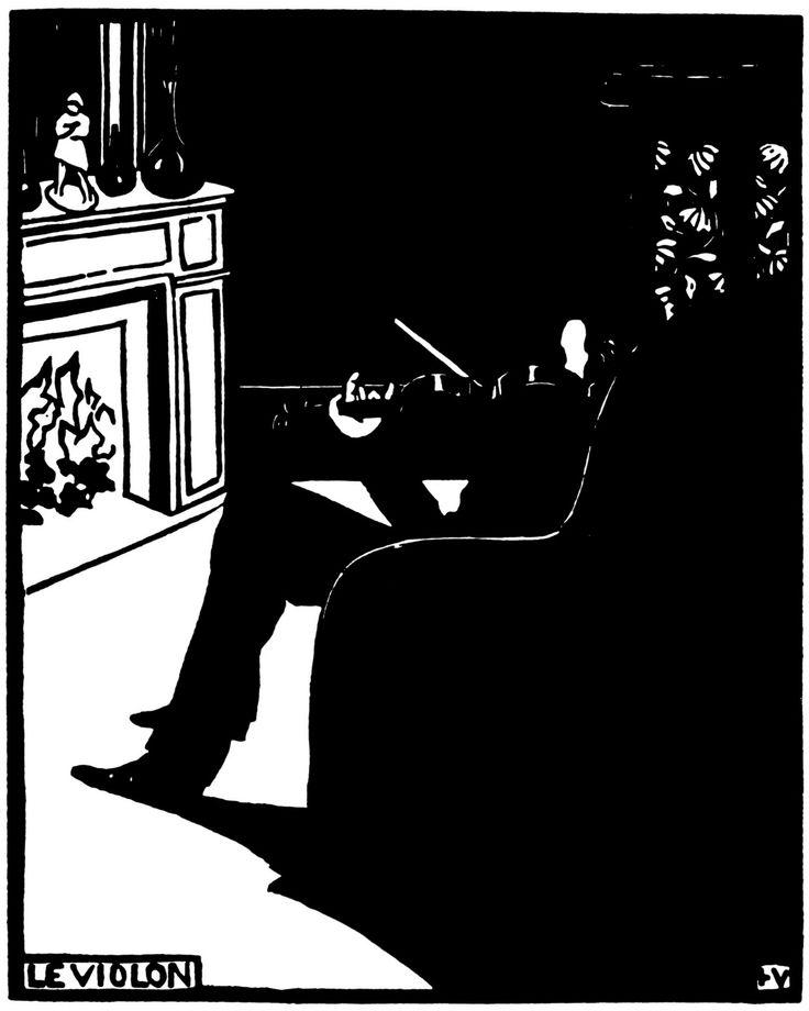 Le Violon, 1896, woodblock print, by Felix Vallotton