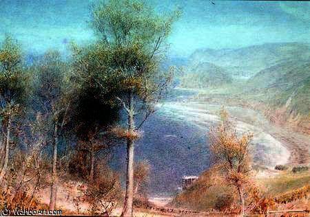 North Devon, baie boisée de Albert Goodwin (1845-1932, United Kingdom)