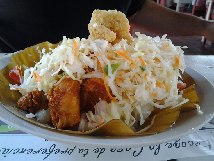 Classical Nicaraguan food, Do not remember its weird name but it has yuca and fried pork. Shot in Nicaragua