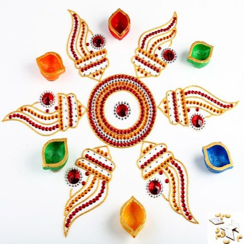 Shankh Rangoli with Kaju Katli - Online Shopping for Diyas and Lights by Ghasitaram Gifts