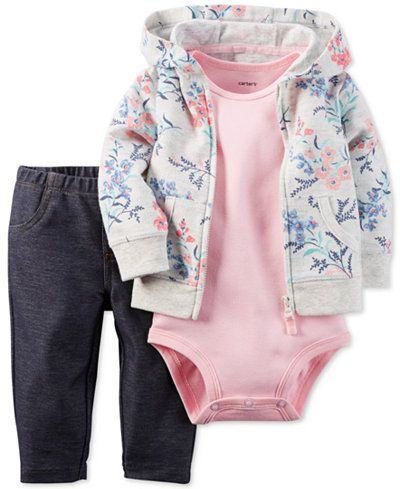 Carter's Baby French Terry Girls' 3-Pc. Floral-Print Hoodie, Bodysuit & Jeggings Set