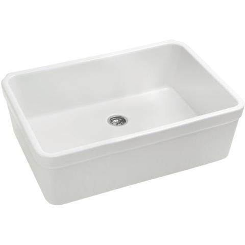 "26"" x 20"" Single Basin Fireclay Farmhouse Sink with Apron Lip"