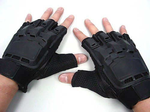 SWAT Half Finger Airsoft Paintball Tactical Gear Gloves by AirSoft. $18.99. FEATURES: Assault combat gloves offer both soft and flexible feel. Half finger design offer real feel with your fingers during airsoft game. Made by elastic PVC, leather and nylon fiber. Soft leather material on front of the glove. Reinforced PVC on palm center and knuckle area. With adjustable velcro strap. Good ventilation design. Perfect for paintball and outdoor war game activities. D...