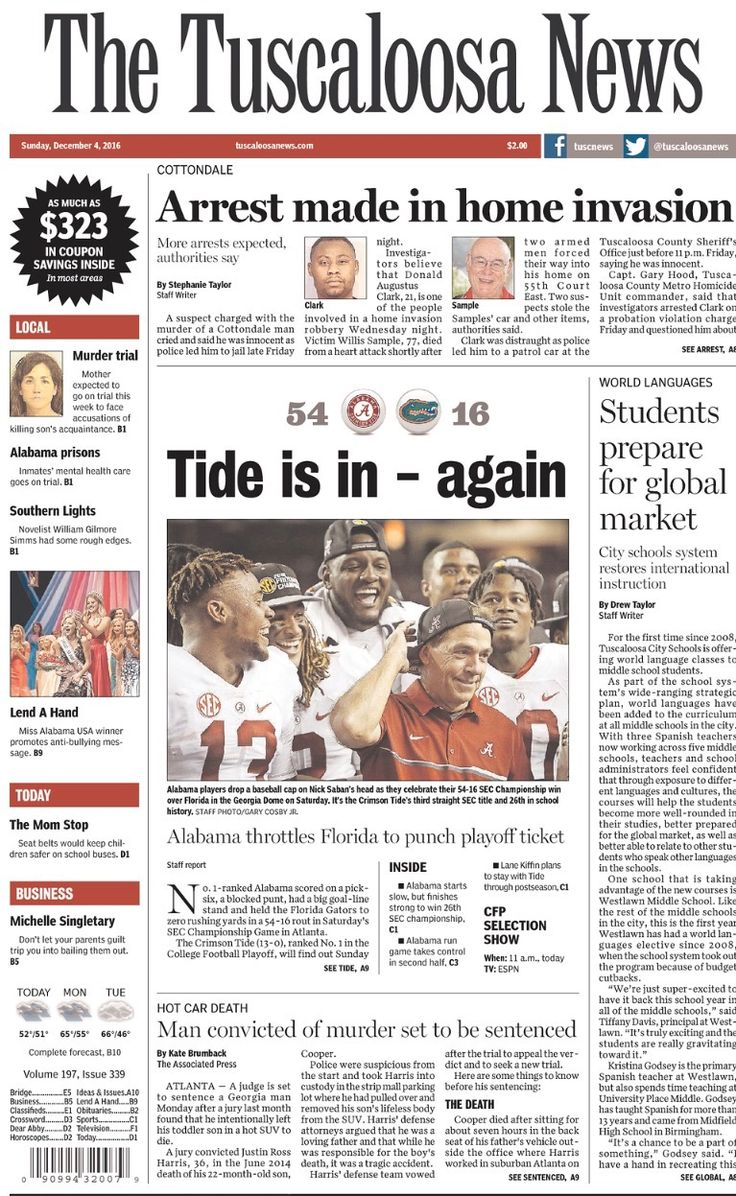 """Tide is in, again"" SEC Championship Newspaper Headlines - The Tuscaloosa News - Alabama dominates Florida 54 - 16 to win a 3rd straight SEC Championship. (December 3, 2016)"