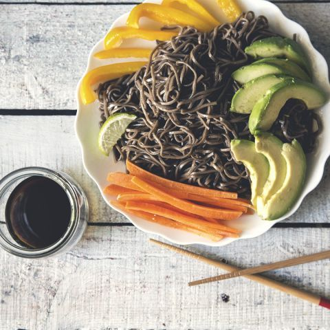Serrano Honey Soba Noodle Salad - Simple, sweet and spicy with just the right amount of fun! #noodles -thisTable