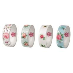 Royal Albert New Country Roses Giftware Napkin Rings -Sets Of 4