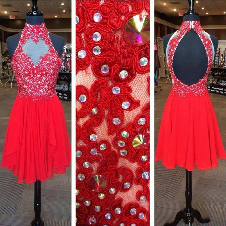 Backless Halter High Neck Lace Appliqued Red Chiffon Homecoming Dresses,Hot 37