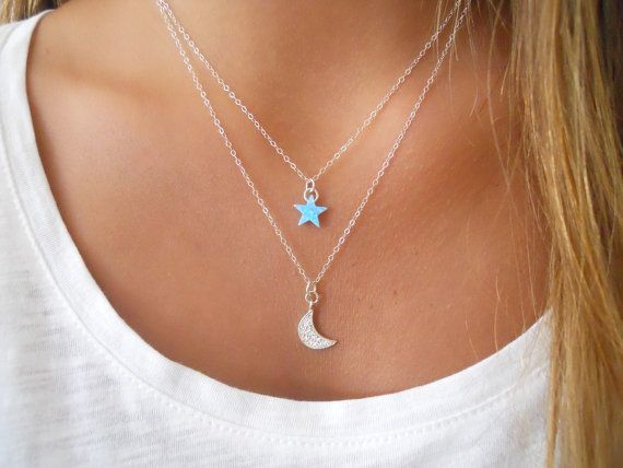 Moon And Star Silver Necklace Set. Dainty Sterling Silver Necklace Set. Layering…