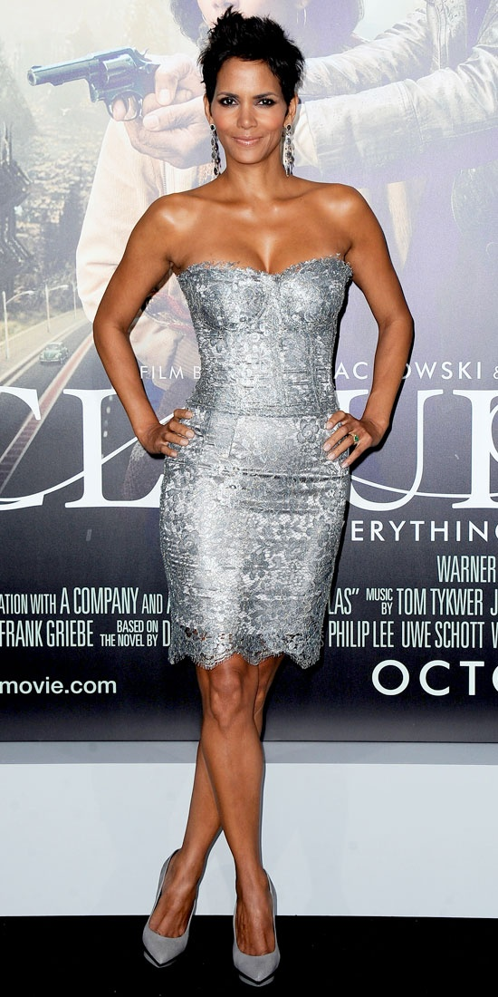 Halle Berry lit up the Cloud Atlas red carpet in a silver Dolce & Gabbana minidress, white gold Sutra earrings and suede pumps.
