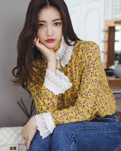 Faux Pearl Buttoned High Neck Lace Trim Blouse CHLO.D.MANON   #yellow #lace #floral #blouse #koreanfashion #kstyle #kfashion #springtrend #seoul #dailylook