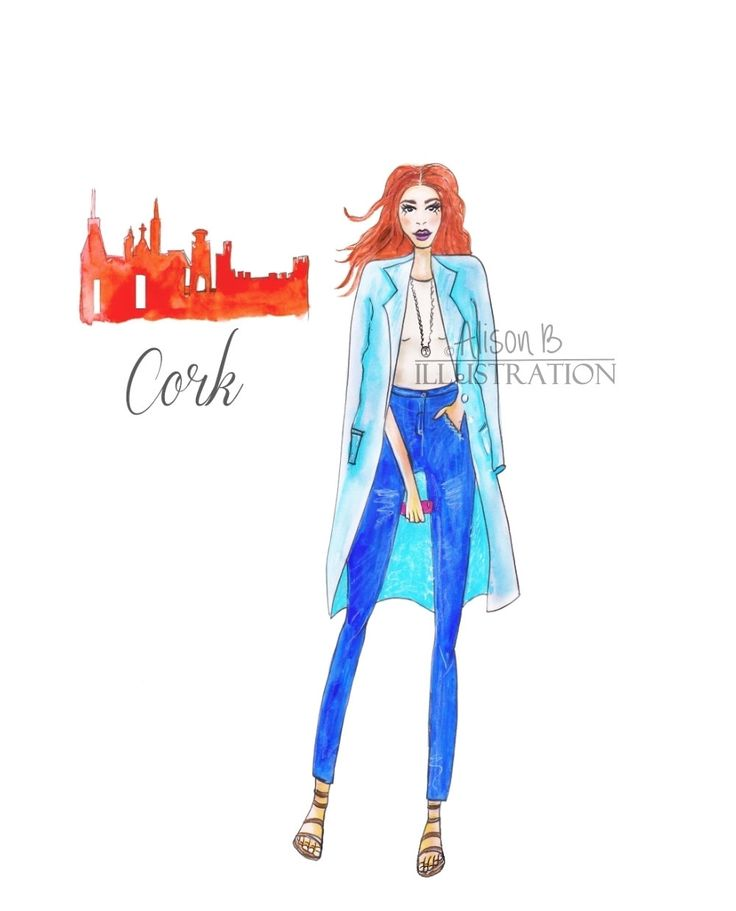 Fashion Illustration Print Cork City Chic by AlisonBillustrations