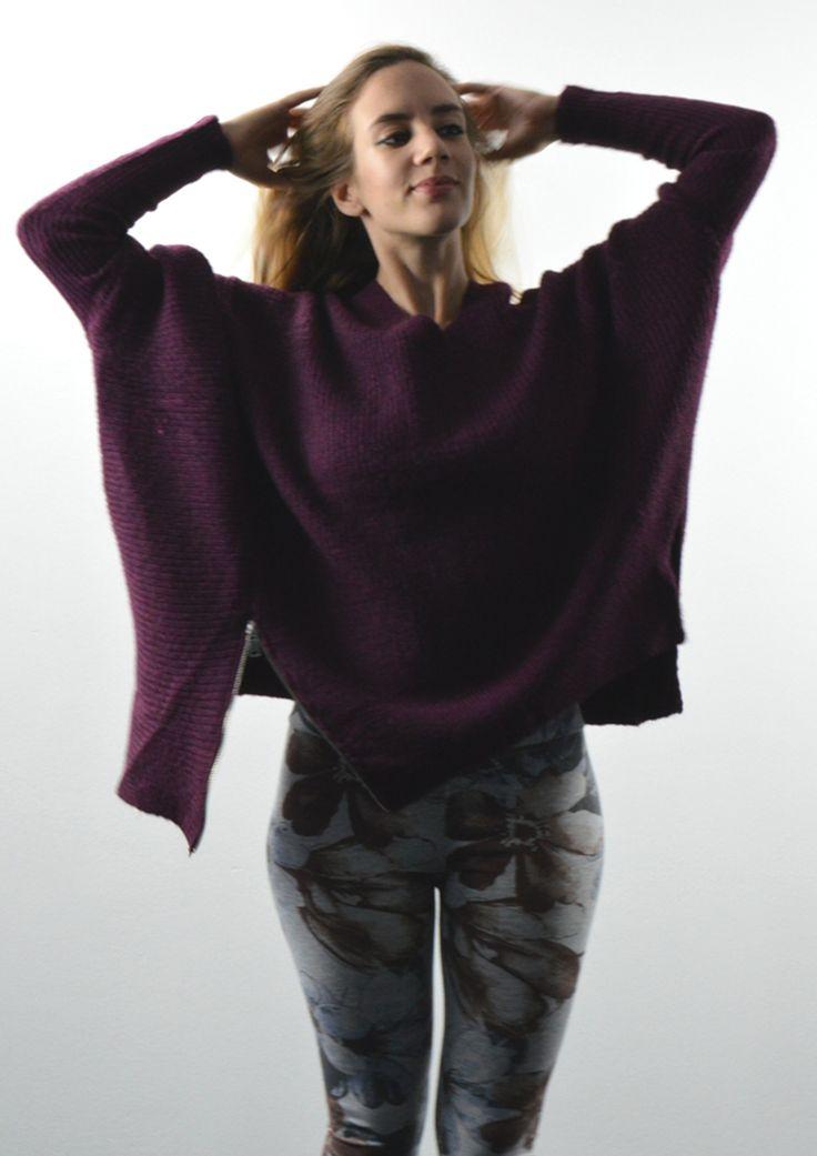 Μπλούζα Oversized Πλεκτή με Φερμουάρ - ΜΠΟΡΝΤΟ | shop online: www.musitsa.com