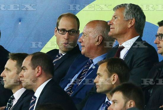 Football - UEFA European Championships 2016 Group Stage Group B Slovakia v England Stade Geoffroy-Guichard, St-Etienne, France - 20 Jun 2016  Prince William speaks with FA Chairman Greg Dyke during the UEFA Euro 2016 Group B match between England and Slovakia played at Geoffroy-Guichard, Saint-Etienne, France on June 20th 2016 20 Jun 2016