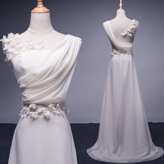 Elegant White Prom Dresses,Chiffon Prom Dresses,Long Evening Dresses,Bride Princess Prom Dresses