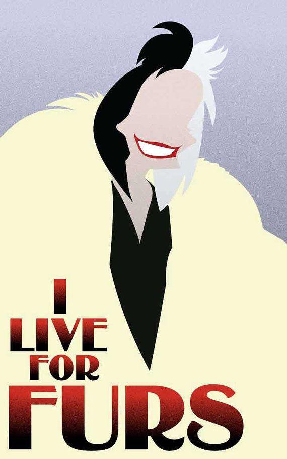 Cruella De Vil - 101Dalmatians / Disney Villains Inspired - Movie Art Poster