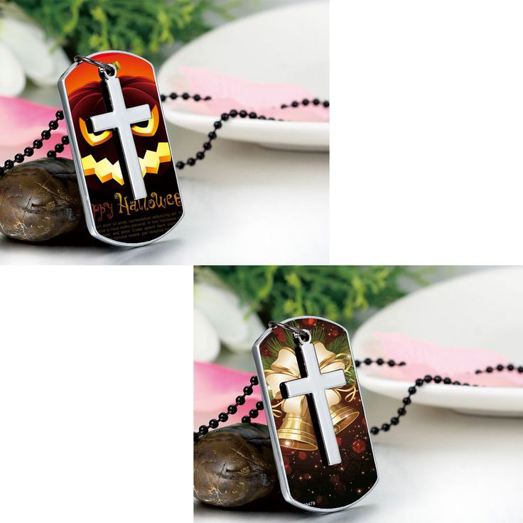 Men's Personalized Photo Cross Dog Tag Pendant Necklace Free Custom Engraving #Unbranded #Pendant