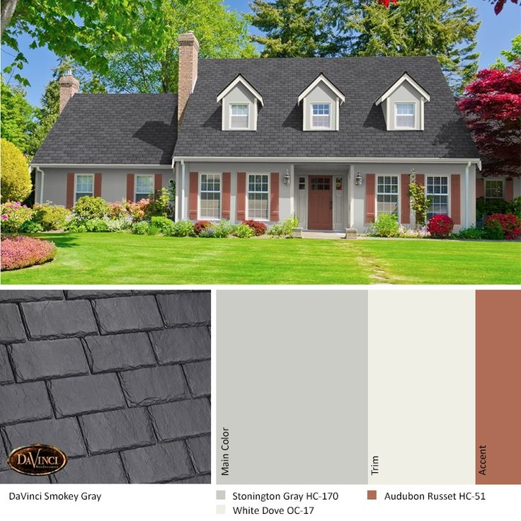 Best Exterior Color Scheme Smokey Gray Davinci Slate Roof 400 x 300