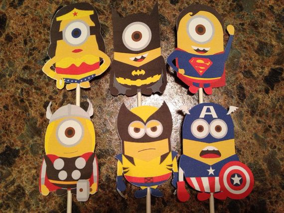 Superhero Minion Cupcake Toppers  Superhero by KincadesCrafts