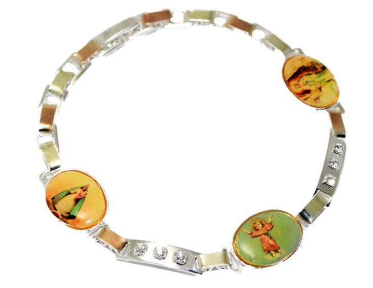 Caridad del Cobre, Virgen de Lourdes & Divino Niño Silver Plated Bracelet 7 inch