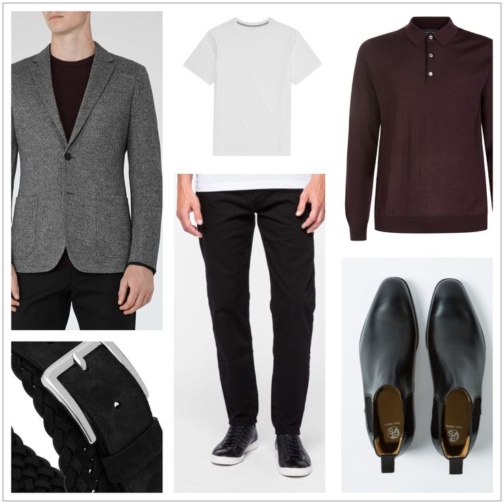Client brief: Updating wardrobe for the winter months focusing on 'casual friday' workwear outfits, evening occasion outfits and casual off duty looks. Blazer & belt: Reiss Boots, chinos: Paul Smith Tee shirt: Whistles Knit: Nigel Hall
