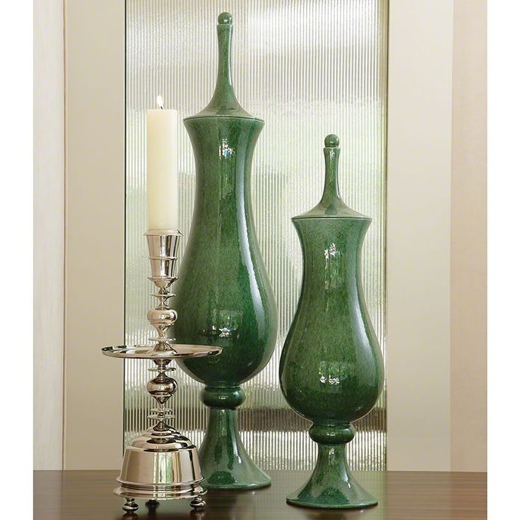 Global Views Green Tower Ceramic Jar - Available in 2 Sizes Small Jar Home Decor Kitchen Decor Canisters