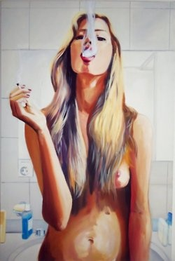 like who stands around nakes smoking a cigarette... what the heck! but i love the painting of course.. so i will repin
