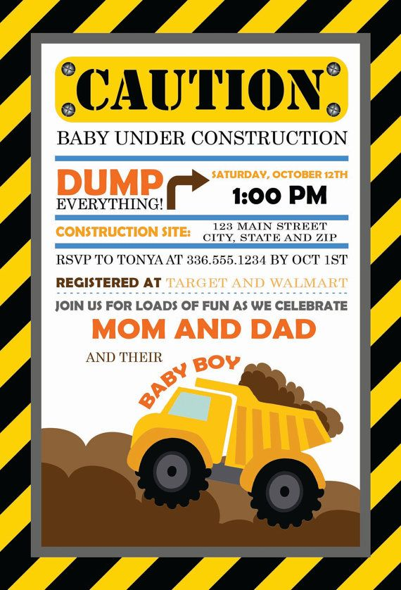 baby under construction baby shower invitation construction baby