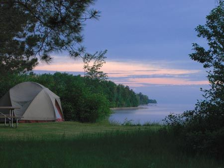Early Morning at Bay Furnace Campground, near Munising, Michigan--I'm going to camp HERE! Love the U.P!