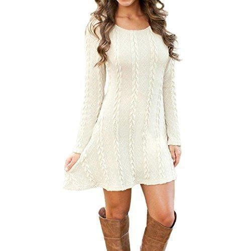 Oferta: 8.62€. Comprar Ofertas de FEITONG Mujer Señoras Manga larga Saltador Delgado Casual De punto Suéter Mini Vestir (M, blanco) barato. ¡Mira las ofertas!