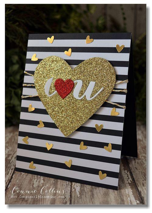TrendyValentine-003 - SU - black & white stripes, die cut, glitter, gold heart, Valentine's Day card