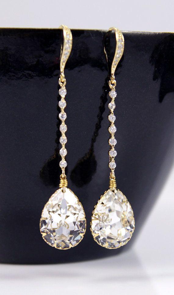 Champagne Gold Wedding Earrings Bridesmaid Earrings Bridal Jewelry Wedding Clear Swarovski Crystal Tear Drops with Cubic Zirconia, by GlitzAndLove