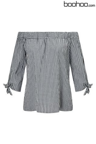 Buy Boohoo Gingham Bardot Top from the Next UK online shop