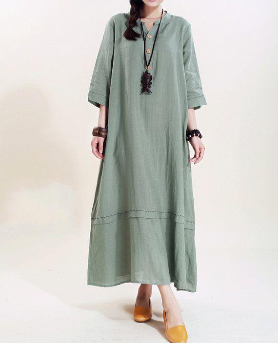 Women linen Maxi dress/ loose linen dress/ Mint Green by MaLieb