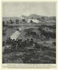 """Pickett's Charge, I. --looking down the Union lines from the """"clump of trees. 1863"""