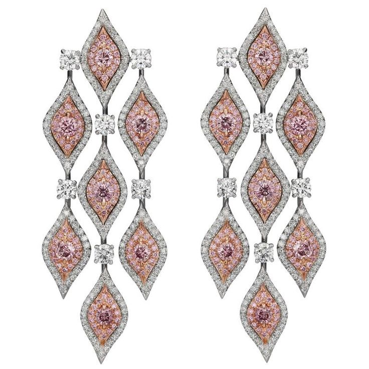 Natural Pink Diamond Platinum Chandelier Earrings