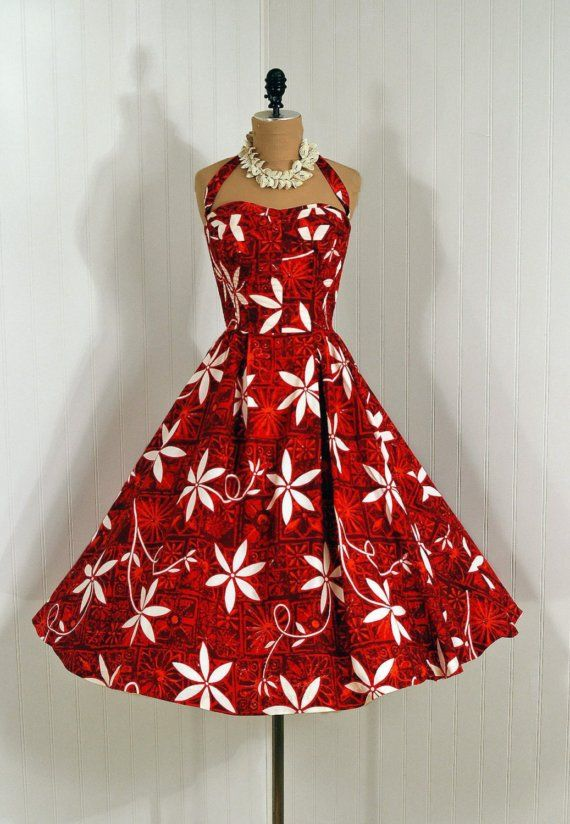 Sun Dress, Alfred Shaheen: 1950's, Hawaiian, tropical floral cotton print, sweetheart halter bodice.