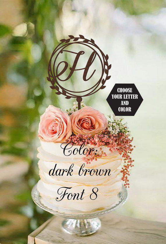 H cake topper wood Monogram Wedding Cake toppers for wedding Initial cake topper wood cake topper h rustic cake topper wood H letter silver