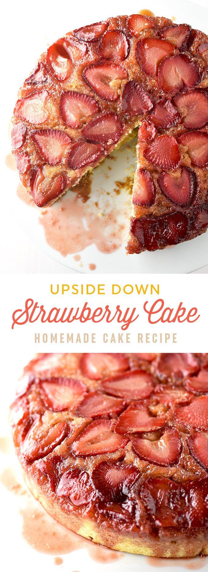 Easy Strawberry Upside Down Cake Recipe | shewearsmanyhats.com
