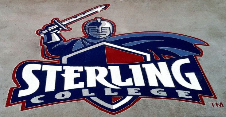 Decorative concrete overlay and logo of Sterling College in KS