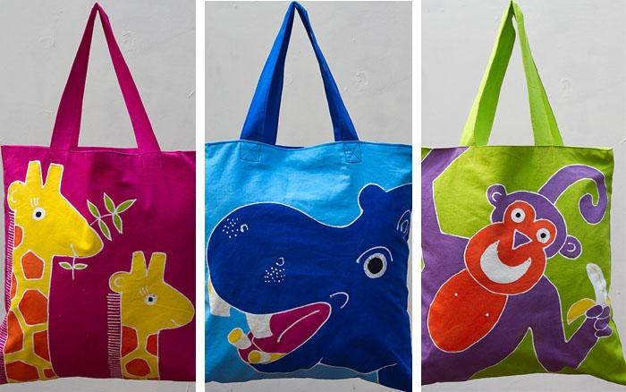 Hand painted kiddies cushion bags