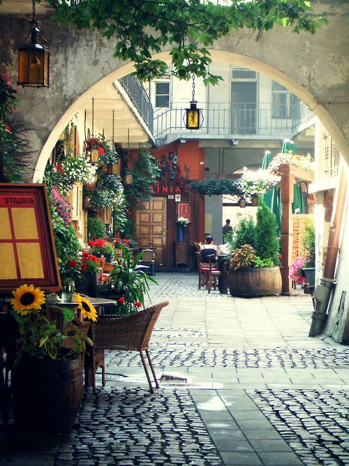 dreamyPhotos, Outdoor Restaurants, Dreams, Beautiful Places, Mornings Coffe, Krakow Poland, Travel, Outdoor Cafes, Courtyards