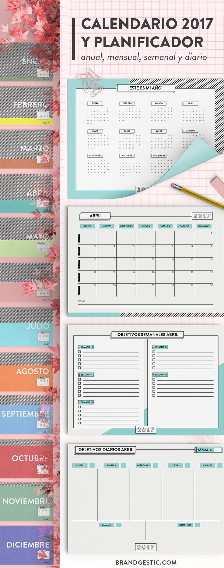 Planificador año completo 2017 imprimible con calendario en A3