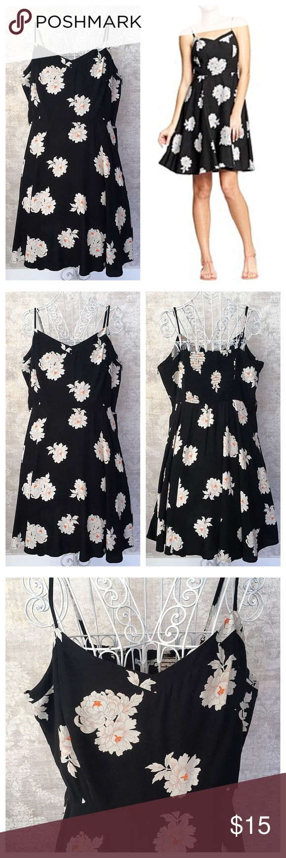 "Old Navy Cami Dress Old Navy black floral print cami dress, size XXL Tall. Adjustable straps, elasticized back panel for a great fit. Side zip with hook-and-eye closure at the top. 23"" waist-to-hem. New without tags. Old Navy Dresses"