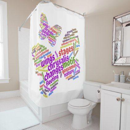 Inspirational Elegant Butterfly Tag Cloud Shower Curtain - original gifts diy cyo customize