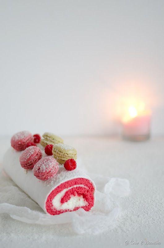 Coconut pink velvet cake roll