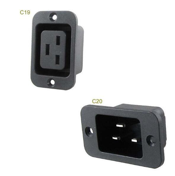AC 250V 16A IEC 320 C19 C20 Panel Mount Plug Connector Socket #Affiliate