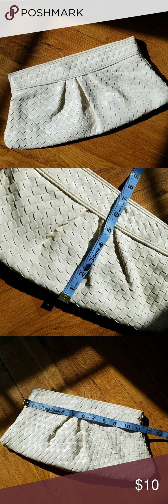"off white woven vegan pleather clutch Weave design soft faux leather fabric. Opens with one main compartment that zips shut and also has a hidden magnet. Is about 1"" thick  Like new, used once. Great for wedding guests! From a smoke free home. Urban Expressions Bags Clutches & Wristlets"